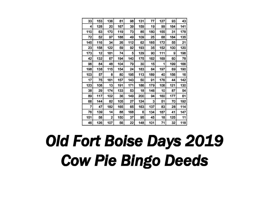 Cow Pie Bingo Deeds