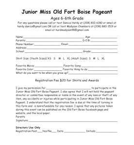 Junior miss form 2020